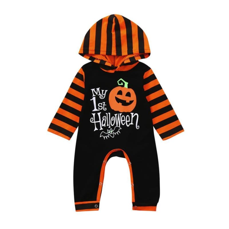 Pumpkin Hoodie Romper for Toddler - A / 24M - Rompers