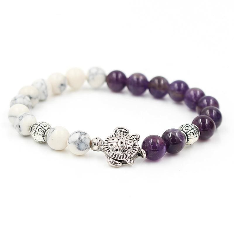 Purple Amethyst And White Marble Save Sea Turtles - Charm Bracelets