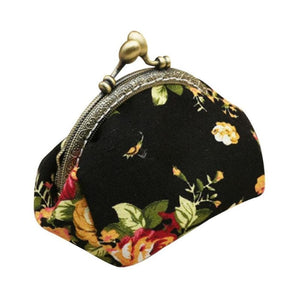 Retro Flower Small Wallet Women - Black - Coin Purses