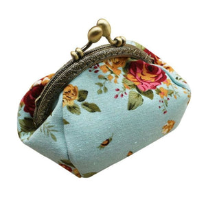 Retro Flower Small Wallet Women - Blue - Coin Purses