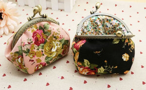 Retro Flower Small Wallet Women - Coin Purses