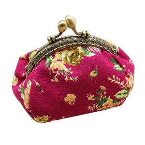 Retro Flower Small Wallet Women - Hot Pink - Coin Purses