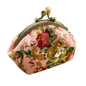 Retro Flower Small Wallet Women - Pink - Coin Purses