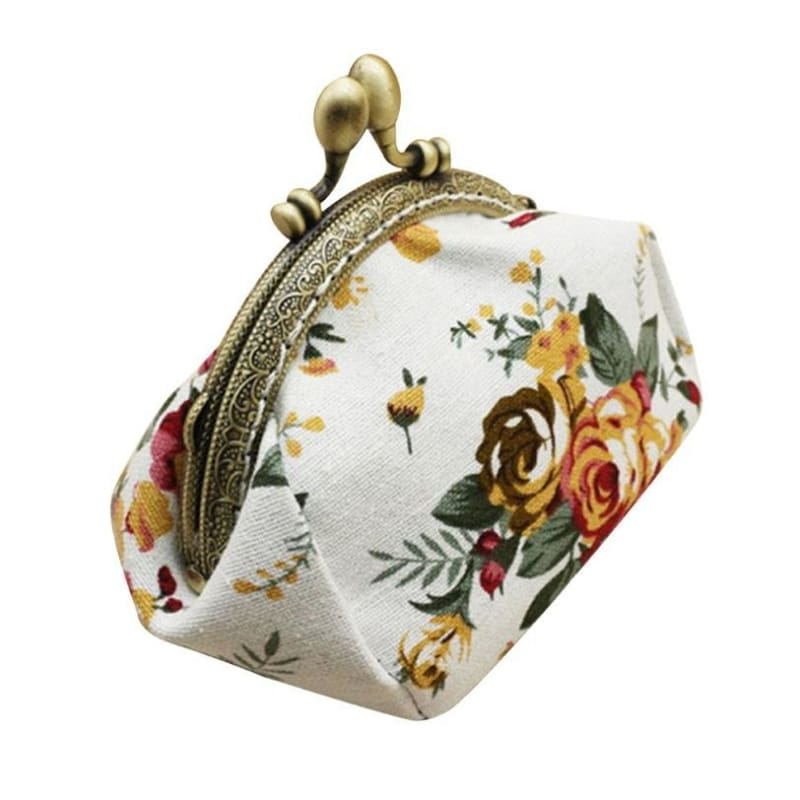 Retro Flower Small Wallet Women - White - Coin Purses