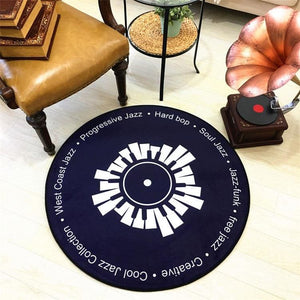 Retro Vinyl Record Rug - black and white / diameter 100cm - Bath Mats