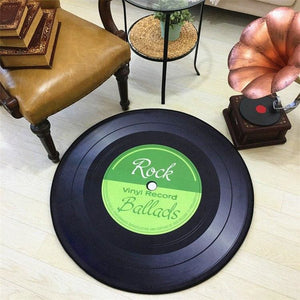 Retro Vinyl Record Rug - light green / diameter 100cm - Bath Mats