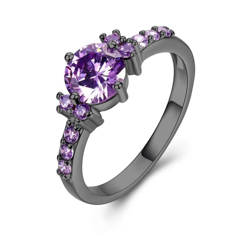 Rose Gold Color Ring Purple Stone - 10 / black gold color - Wedding Bands
