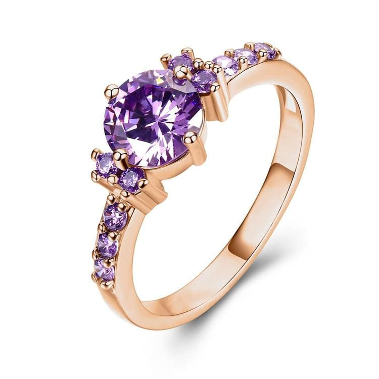 Rose Gold Color Ring Purple Stone - 10 / rose gold color - Wedding Bands