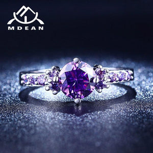 Rose Gold Color Ring Purple Stone - Wedding Bands