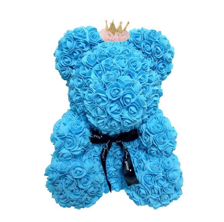 Rose Teddy Bear Just For You - 40cm blue crown - Teddy Bear
