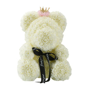 Rose Teddy Bear Just For You - 40cm cream crown - Teddy Bear