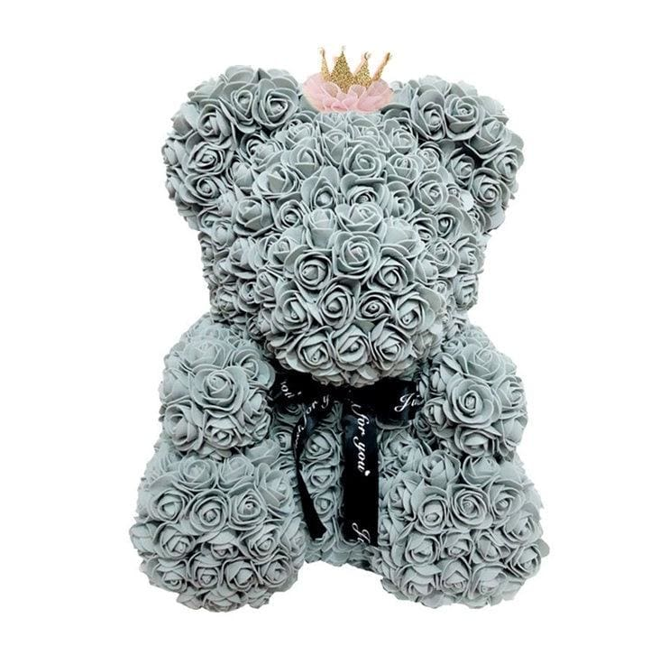 Rose Teddy Bear Just For You - 40cm grey crown - Teddy Bear