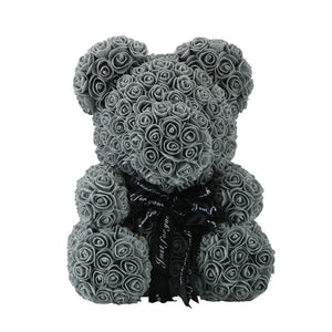 Rose Teddy Bear Just For You - 40cm grey bear - Teddy Bear