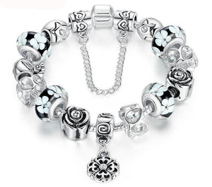 Silver Flower Glass Bead Bracelet - 20CM Length / Black - Strand Bracelets