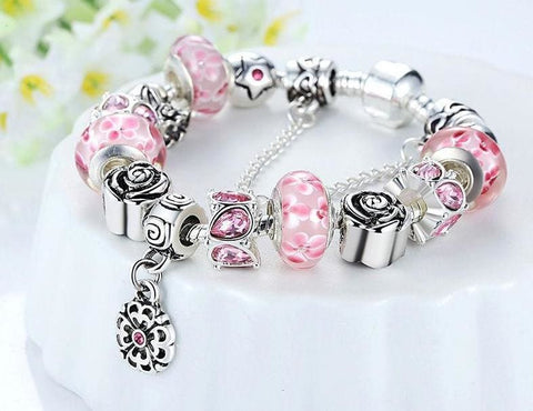 Silver Flower Glass Bead Bracelet