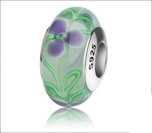 Silver Murano glass beads with flower petal and green leaves - Beads