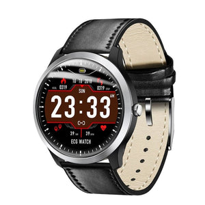 Smart Watch ECG + PPG Just For You - Black Leather - Smart Watches1