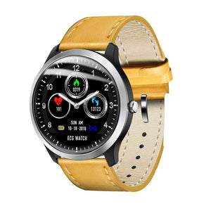 Smart Watch ECG + PPG Just For You - Yellow Leather - Smart Watches1