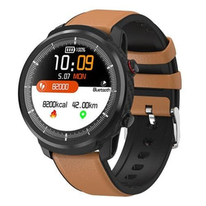 Smart Watch Waterproof Activity Tracker - leather strap Tan - Smart Watches1
