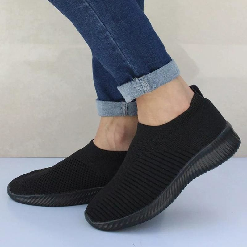Spring Summer Slip On Flat Knitting Sock Sneakers Shoes - Black / 5 - Womens Flats