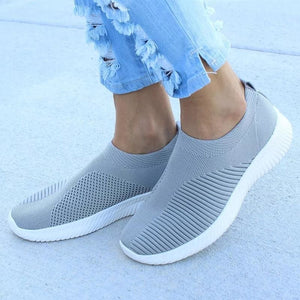 Spring Summer Slip On Flat Knitting Sock Sneakers Shoes - Gray / 5 - Womens Flats