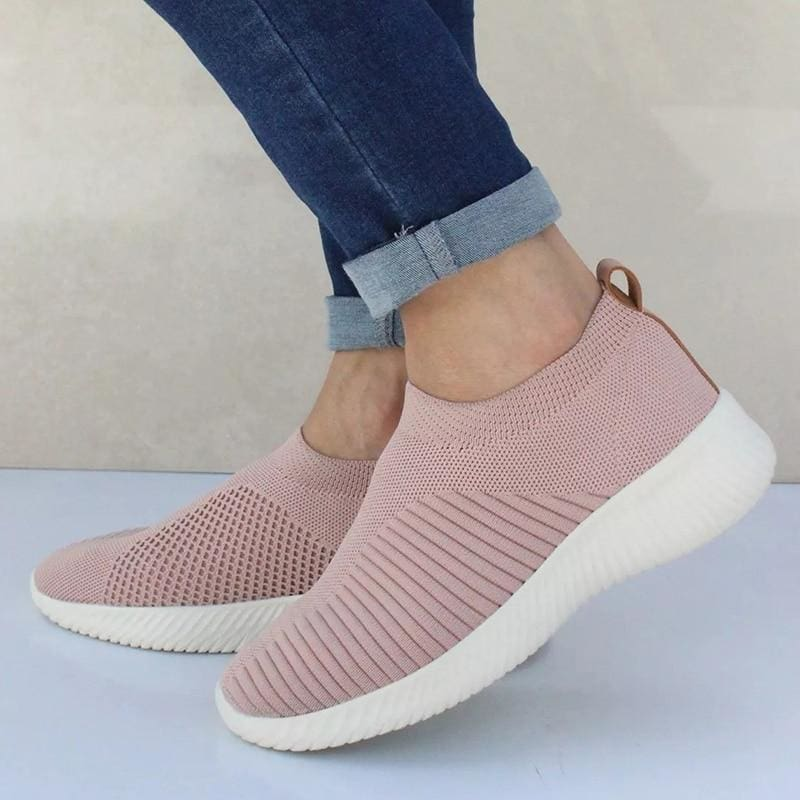Spring Summer Slip On Flat Knitting Sock Sneakers Shoes - Pink / 5 - Womens Flats