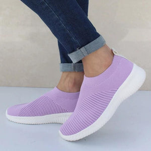 Spring Summer Slip On Flat Knitting Sock Sneakers Shoes - Purple / 5 - Womens Flats