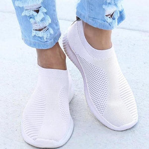 Spring Summer Slip On Flat Knitting Sock Sneakers Shoes - White / 5 - Womens Flats