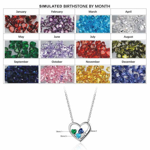 Sterling Silver 3 Birthstone Necklace Pendant