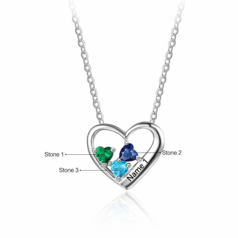 Sterling Silver 3 Birthstone Necklace Pendant - Pendant Necklaces