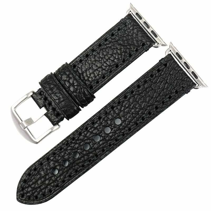 Stitched Leather Watch Bands For Apple Watch - Black S / For Apple Watch 38mm - Watchbands