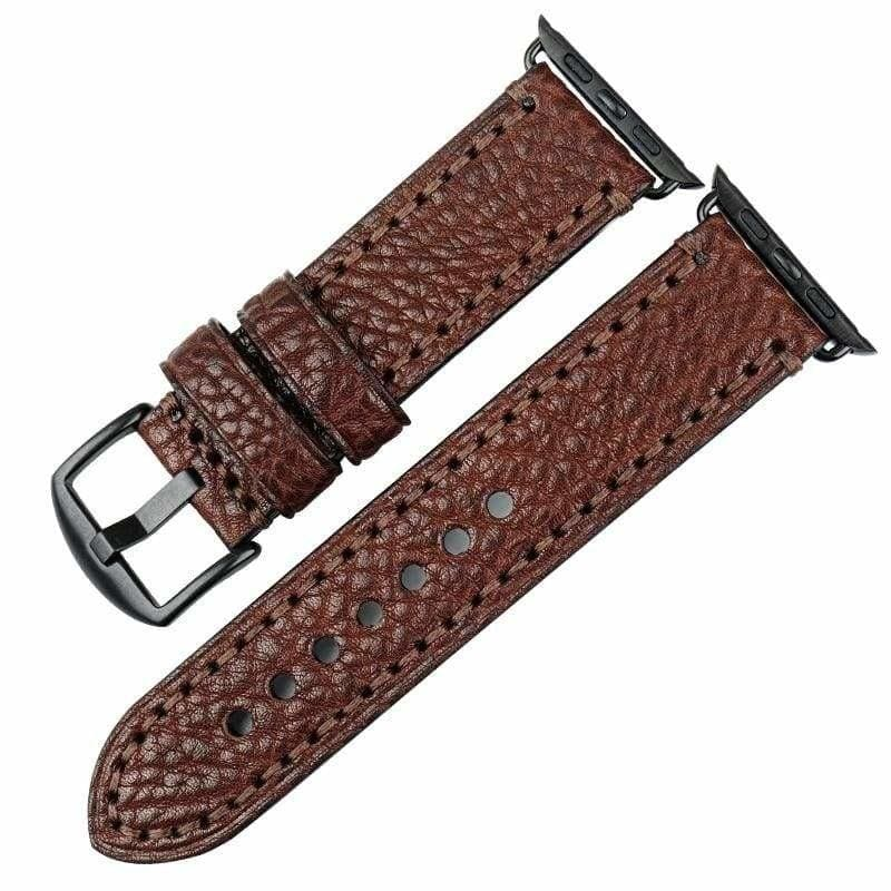Stitched Leather Watch Bands For Apple Watch - Dark Brown B / For Apple Watch 38mm - Watchbands