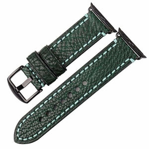Stitched Leather Watch Bands For Apple Watch - Dark Green B / For Apple Watch 38mm - Watchbands