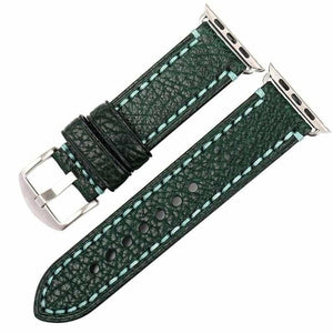 Stitched Leather Watch Bands For Apple Watch - Dark Green S / For Apple Watch 38mm - Watchbands