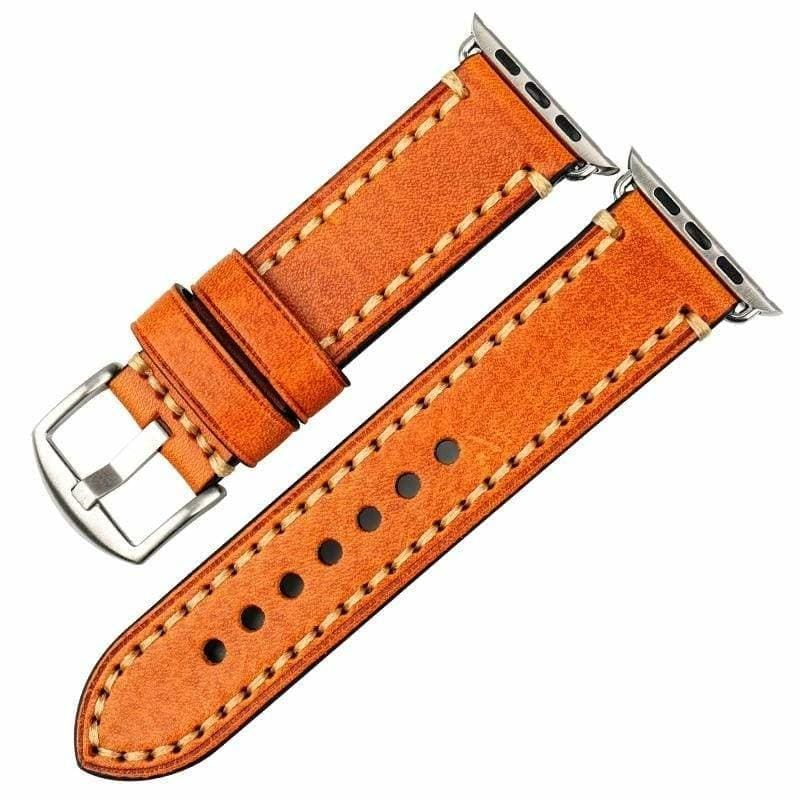 Stitched Leather Watch Bands For Apple Watch - Light Brown S / For Apple Watch 38mm - Watchbands
