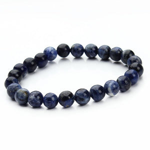 Summer Style Natural Stone Beads Bracelet - Blue Stripe - Charm Bracelets