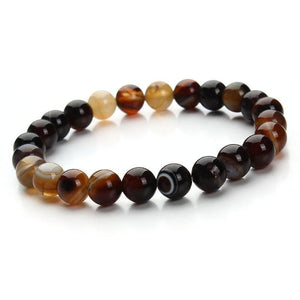 Summer Style Natural Stone Beads Bracelet - Deep coffee - Charm Bracelets