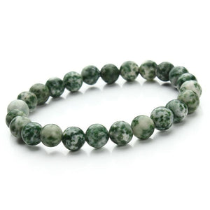 Summer Style Natural Stone Beads Bracelet - green dot - Charm Bracelets