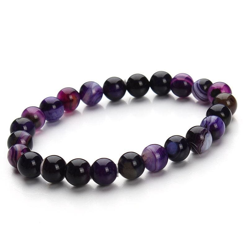 Summer Style Natural Stone Beads Bracelet - Purple Stripe - Charm Bracelets