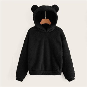 Teddy Hoodie Bears Ears Solid Just For You - Black / XS - Women Clothing