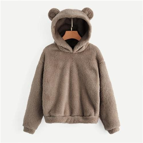 Teddy Hoodie Bears Ears Solid Just For You - Brown / XS - Women Clothing