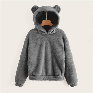 Teddy Hoodie Bears Ears Solid Just For You - Gray / XS - Women Clothing