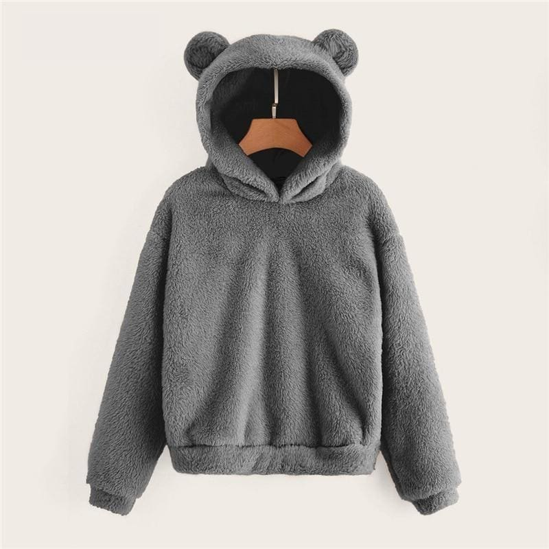 Teddy Hoodie Bears Ears Solid Just For You - Women Clothing