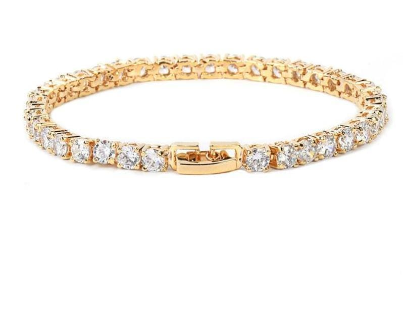 Tennis Chain Copper 24 Carat Gold Plated Bracelet - 3MM GOLD / 18CM - Chain & Link Bracelets