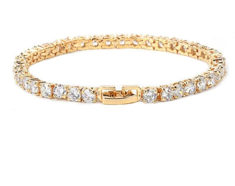 Tennis Chain Copper 24 Carat Gold Plated Bracelet - Chain & Link Bracelets
