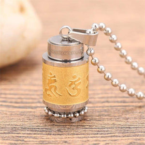 Tibetan Prayer Wheel Pendant & Chain - big gold chain - Pendant Necklaces