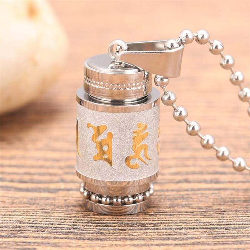 Tibetan Prayer Wheel Pendant & Chain - big silver chain - Pendant Necklaces