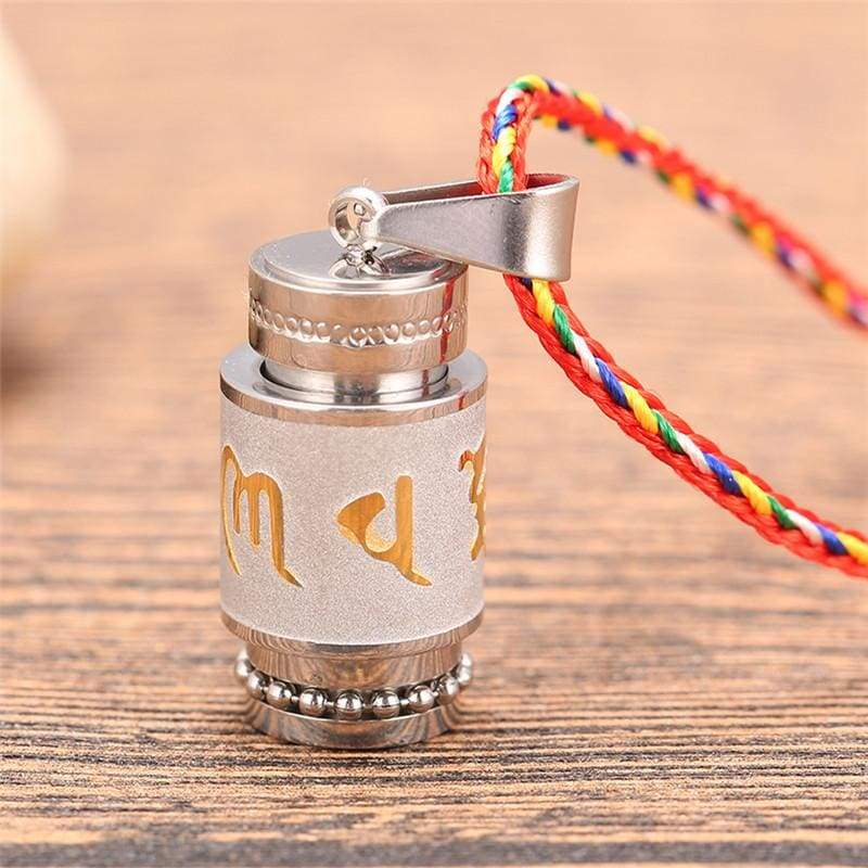 Tibetan Prayer Wheel Pendant & Chain - big silver rope - Pendant Necklaces