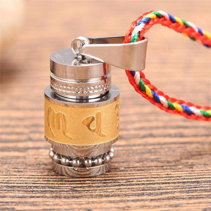 Tibetan Prayer Wheel Pendant & Chain - small gold rope - Pendant Necklaces