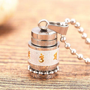 Tibetan Prayer Wheel Pendant & Chain - small silver chain - Pendant Necklaces